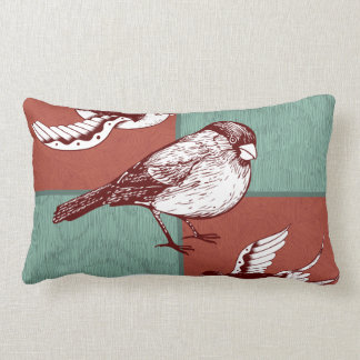 Pretty Birds Sparrows Red Blue Color Block Design Lumbar Pillow