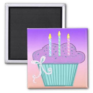 Pretty Birthday Cupcake Design Magnet