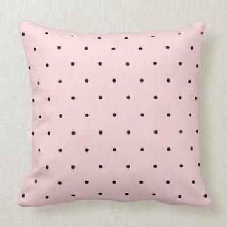 Pretty Black And Baby Pink Polka Dot Spots Pillow