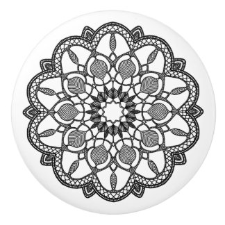 Pretty Black and White Mandala Knob