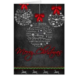 Pretty black and white ornaments Christmas card