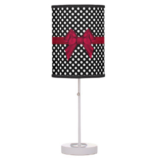 Pretty Black and White Polka Dot Table Lamps