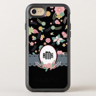Pretty Black Floral Monogram OtterBox Symmetry iPhone 7 Case