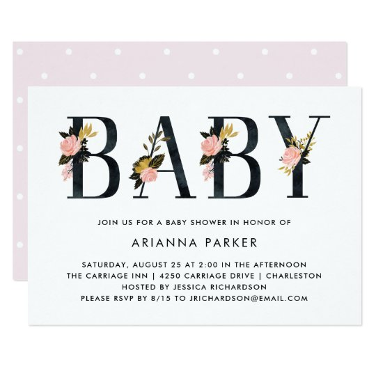 Pretty Black Floral Text | Baby Shower Card