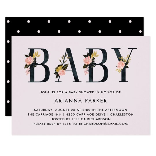 Pretty Black Floral Text on Blush | Baby Shower Card
