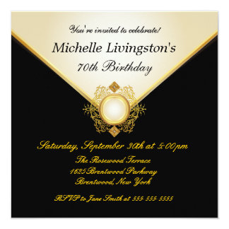 Pretty Black Gold Ivory Womens Party Invitations