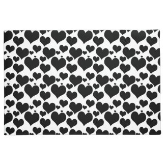 Pretty Black Hearts on White for your Valentine Doormat