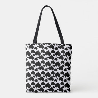 Pretty Black Hearts on White for your Valentine Tote Bag