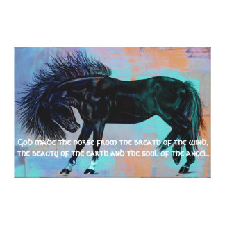 "Pretty Black Horse & Quote """"God made the horse.."" Canvas Print"