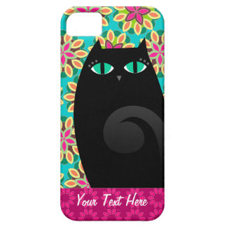 Pretty Black Kitty on Floral Custom iPhone 5 Case