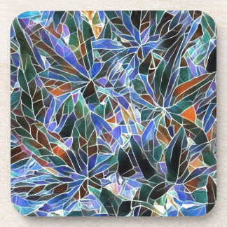 Pretty Black Lavender Artistic Stained Glass Beverage Coasters