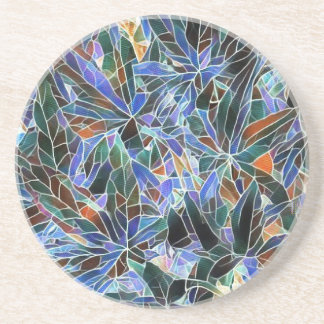 Pretty Black Lavender Artistic Stained Glass Coasters