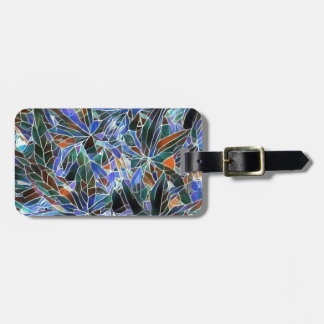 Pretty Black Lavender Artistic Stained Glass Luggage Tag