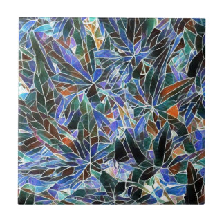 Pretty Black Lavender Artistic Stained Glass Tile