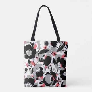Pretty Black, White, & Coral flower pattern Tote Bag