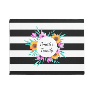 Pretty Black & White Stripes Floral Wreath Text Doormat