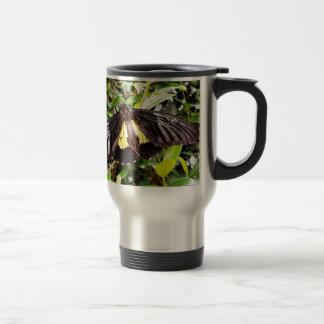 pretty black yellow butterfly photograph travel mug
