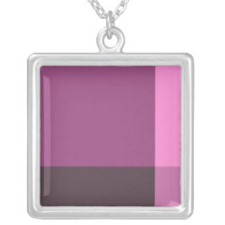 Pretty Blocks of Pink and Wine Square Pendant Necklace