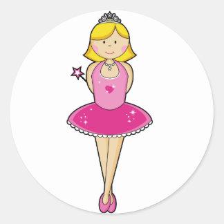 Pretty Blonde Ballerina in Pink Round Sticker