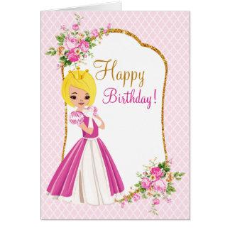 Pretty Blonde Princess Birthday Greeting Card