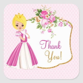 Pretty Blonde Princess Birthday Party Sticker