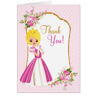 Pretty Blonde Princess Birthday Thank You Card