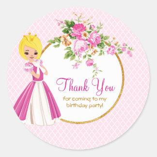 Pretty Blonde Princess Birthday Thank You Sticker