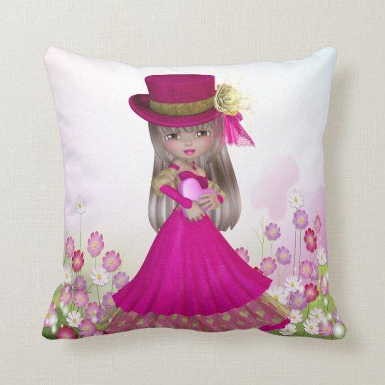 Pretty Blonde Princess Girl Holding a Heart Pillow