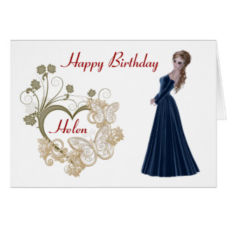 Pretty blonde woman in a beautiful long gown card