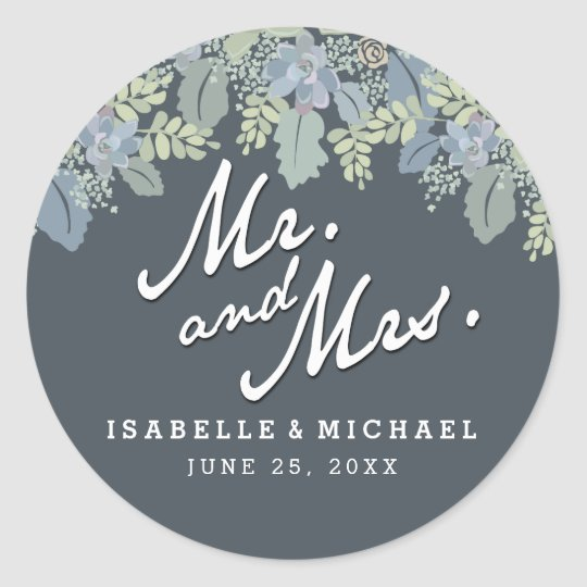 Pretty Blooms Vintage Garden Wedding Mr & Mrs Classic Round Sticker