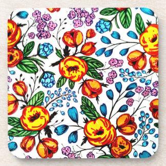 Pretty Blossoms plastic coasters - set of 6