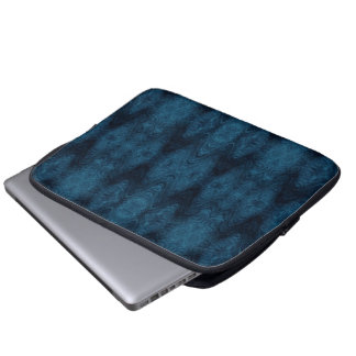 Pretty Blue and Black Abstract Laptop Sleeve