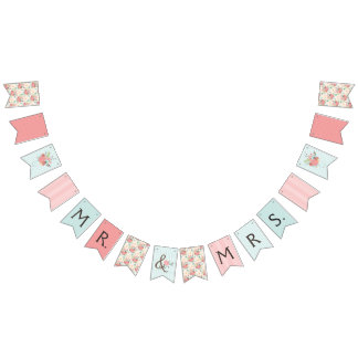 Pretty Blue and Coral Patterns Wedding Bunting Bunting Flags