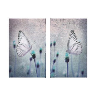 Pretty Blue and Lavender Butterfly Field Grunge Canvas Print