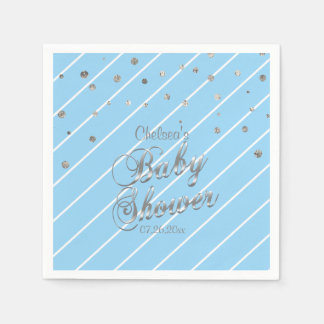 Pretty Blue and Silver - Baby Shower Paper Napkins