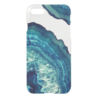Pretty Blue and Teal Agate Geode Stone on Blue iPhone 8/7 Case