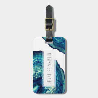 Pretty Blue and Teal Agate Geode Stone on Blue Luggage Tag
