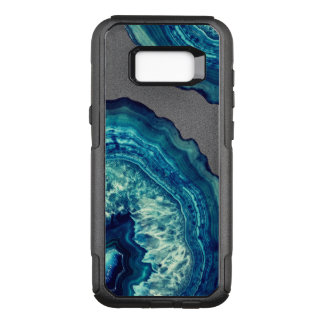 Pretty Blue and Teal Agate Geode Stone on Blue OtterBox Commuter Samsung Galaxy S8+ Case