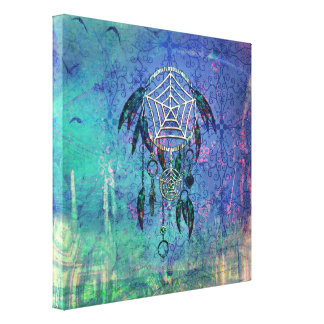 Pretty Blue and Teal Pastel Feather Dreamcatcher Canvas Print