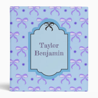 Pretty Blue and Violet Bows Binder