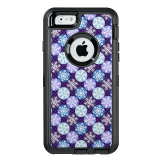 Pretty Blue and Violet Snowflakes Winter OtterBox Defender iPhone Case