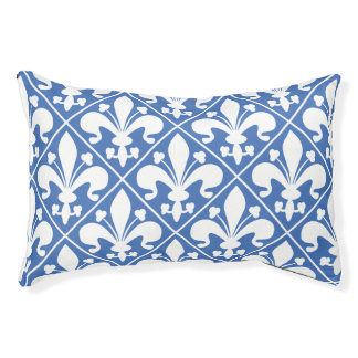 Pretty Blue and White French Fleur de Lys Pet Bed