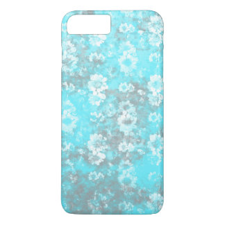 Pretty Blue and White Marbled Flower Wallpaper iPhone 7 Plus Case