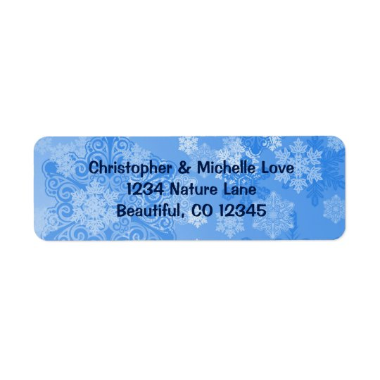 Pretty Blue and White Snowflakes Winter Address