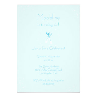 Pretty Blue Ballet Slippers Birthday Invite