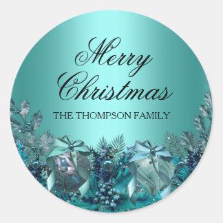 Pretty Blue Bauble & Bow Christmas Sticker