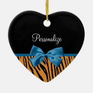 Pretty Blue Bow Stylish Tiger Stripes and Name Ceramic Ornament