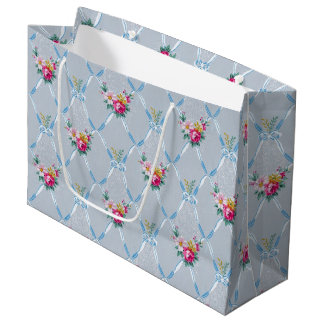 Pretty Blue Bows Rose Floral Vintage Wallpaper Large Gift Bag