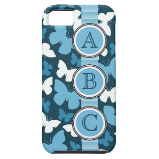 Pretty Blue Butterflies with Blue Dot Initials iPhone 5 Cases