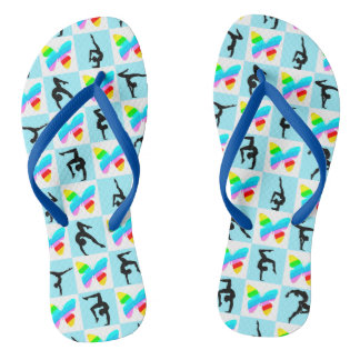 PRETTY BLUE BUTTERFLY GYMNASTICS FLIP FLOPS